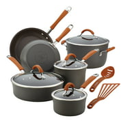 Rachael Ray 12-Piece Hard-Anodized Aluminum Nonstick Pots and Pans Set/Cookware Set, Gray with Pumpkin Orange Handles