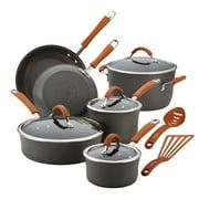 Rachael Ray 12-Pieces Hard-Anodized Aluminum Nonstick Pots and Pans Set/Cookware Set, Gray with Pumpkin Orange Handles