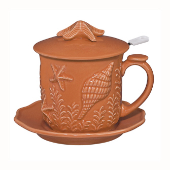 Andrea by Sadek Orange Coral Seashell Covered Coffee Mug