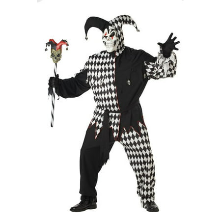 Adult Black/White Evil Jester Big & Tall Costume 48-52 Plus - Evil Jester Kids Costume