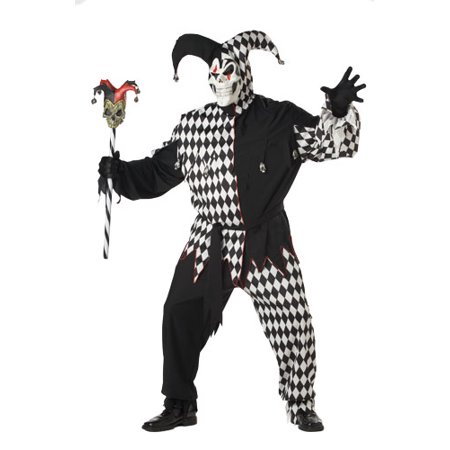 Jester Costume Women (Adult Black/White Evil Jester Big & Tall Costume 48-52)