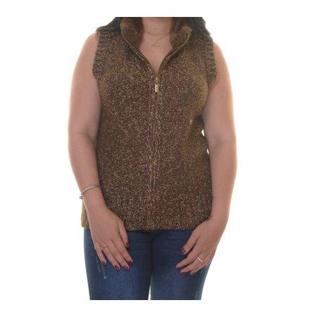 Charter Club Women's Cable Knit Faux Fur Dark Walnut Combo Vest Size L