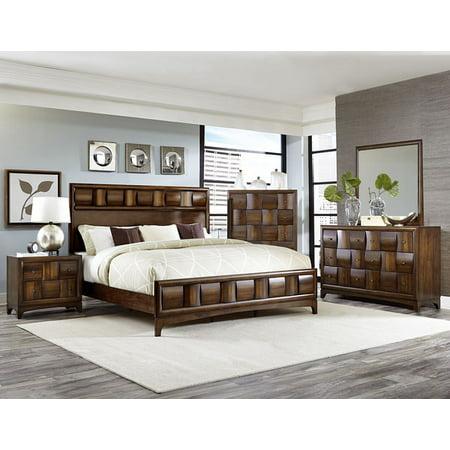 Preston 5 piece queen bedroom set with chest in warm walnut finish Bedroom furniture preston