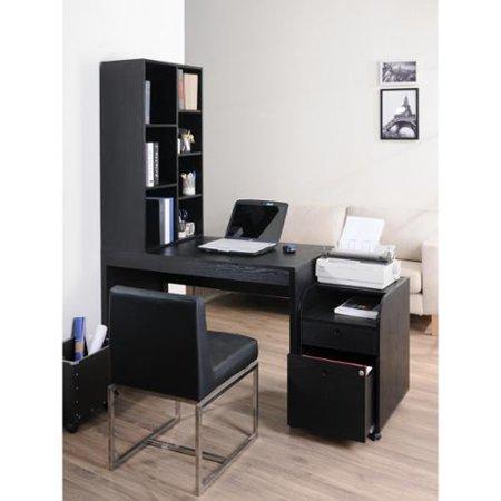 Furniture of America Zayo Black Finish Office Desk with Bookshelf