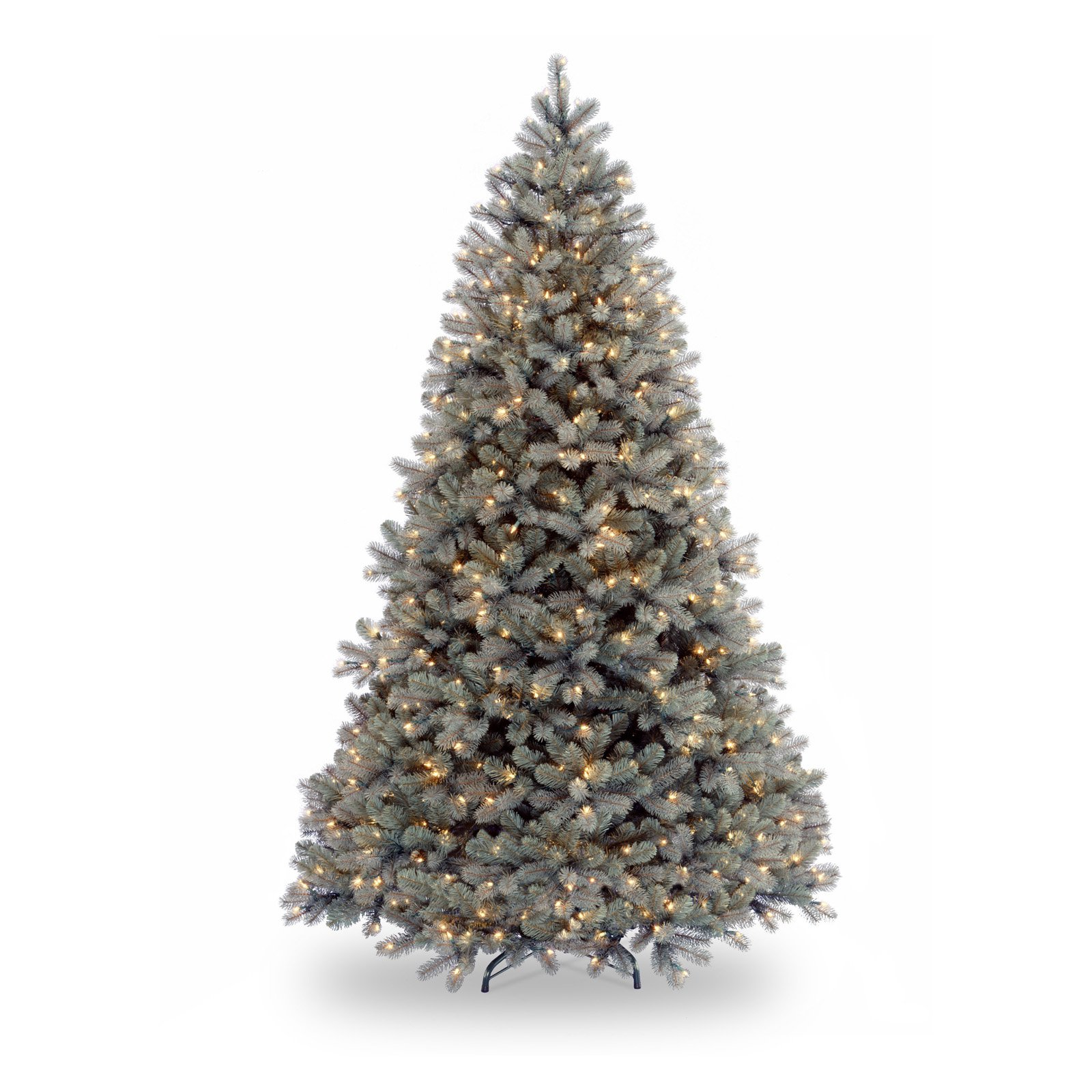 National Tree Pre-Lit 7-1/2' Feel-Real Downswept Douglas Blue Fir Hinged Artificial Christmas Tree with 750 Clear Lights
