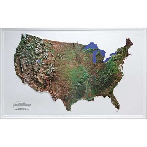 "American Educational Products U.S. Satellite Image Relief Map, 34"" x 21"""