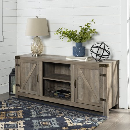 """Manor Park Modern Farmhouse Barn Door TV Stand for TVs up to 64"""" - Gray Wash"""