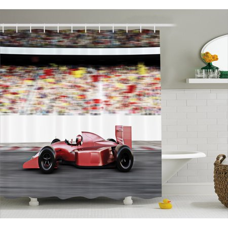 Cars Shower Curtain, Sports Theme Red Race Car Side View on a Track Leading the Pack with Motion Blur, Fabric Bathroom Set with Hooks, 69W X 70L Inches, Gray Red Black, by Ambesonne (Race Car Theme)