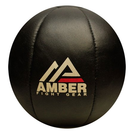 Amber Fight Gear Leather Medicine Ball for Strength & Conditioning, Plyometric & Core Training, Cardio Workouts for Muscle Building, Squats, Lunges, Partner Training 25lb](Zoe Ball In Leather)