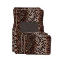 Tan Leopard Carpet 4 Piece Car Truck SUV Floor Mats