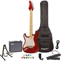 Sawtooth ES Series ST Style Electric Guitar Kit with Sawtooth 10 Watt Amp, Gig Bag Soft Case, Stand, Clip-on Tuner, Picks, Strap & Cable - Black with Black Pickguard