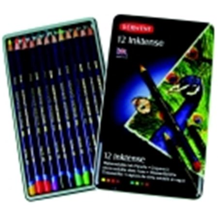 Inktense Pencils Set - Derwent Inktense Non-Toxic Water Soluble Colored Pencil Set - Assorted Color, Set - 12