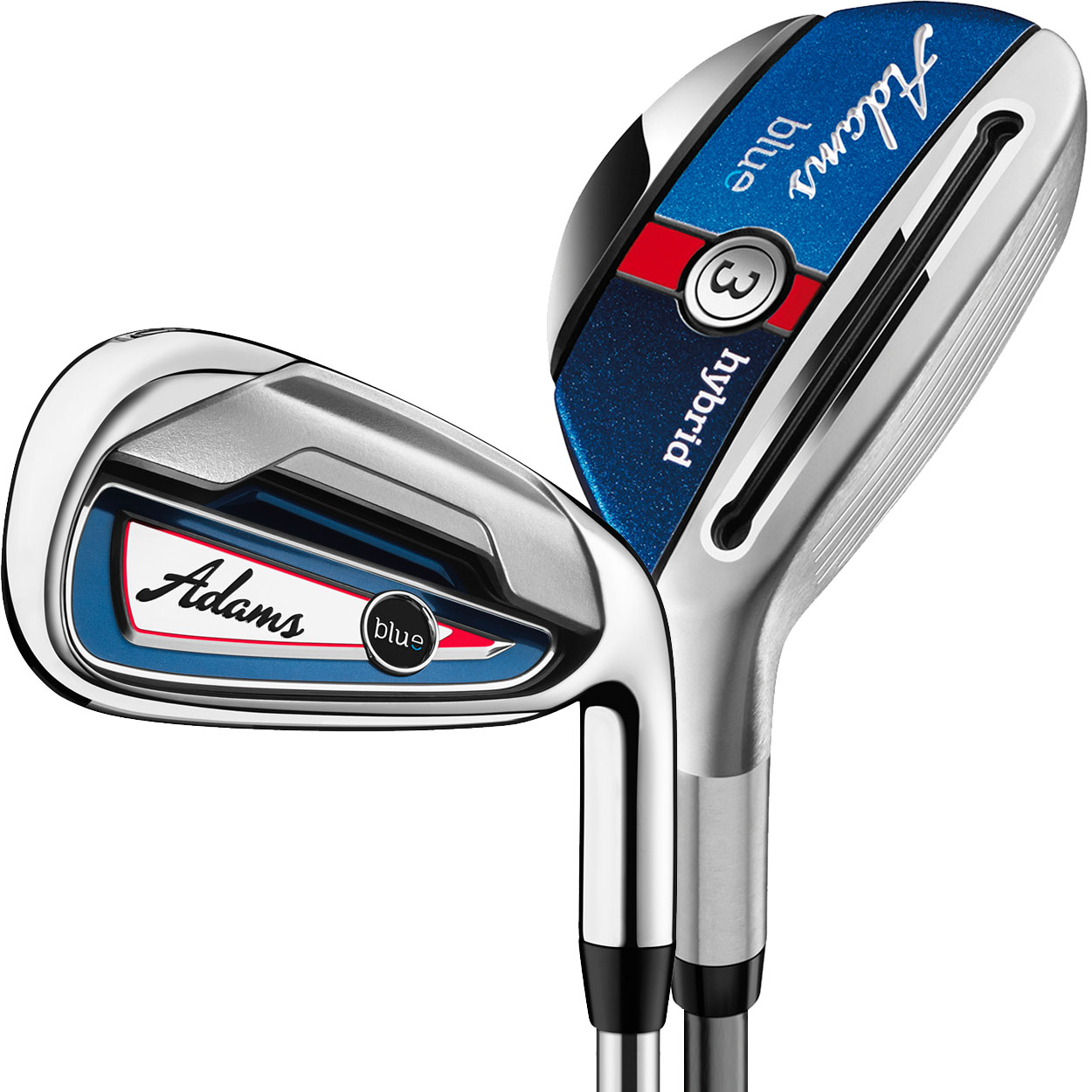 Adams Golf Blue Combo Hybrid Iron Set (#3h-#4h, 5-PW), Graphite/Steel Shafts -