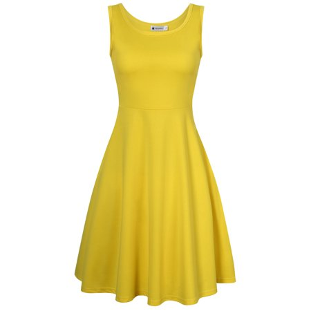 Very Ann Women Sleeveless Round Neck A-line Tank Party Dress Color:Yellow Size:S - Yellow Dress Ideas
