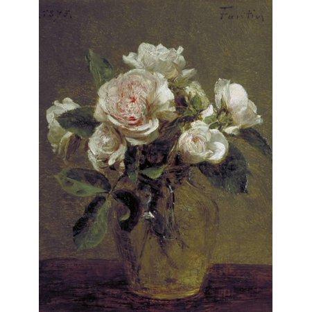 - White Roses in a Glass Vase, 1875 Flower Still Life Painting Print Wall Art By Henri Fantin-Latour
