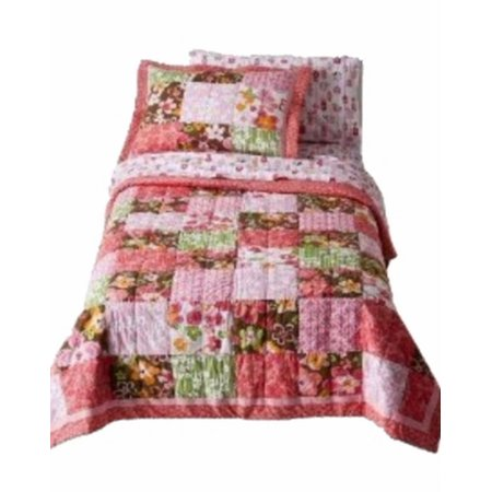 Girls Twin Quilt & Sham Set Coral Brown Patchwork Blossom Flowers