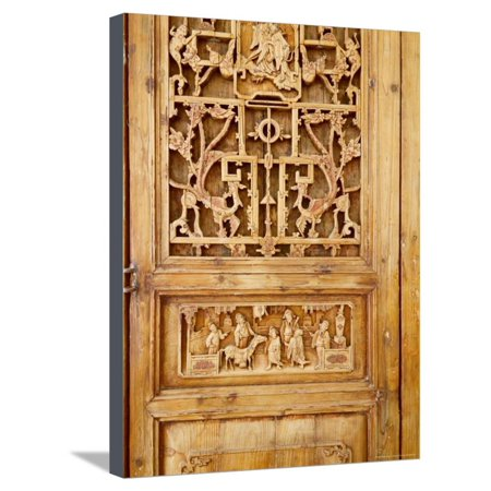 Traditional Wood Screen Door with Intricate Carving, China Stretched Canvas Print Wall Art By Keren -