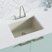 Ren  Granite Composite 22'' L x 17'' W Dual-Mount Kitchen Sink With Basket Strainer