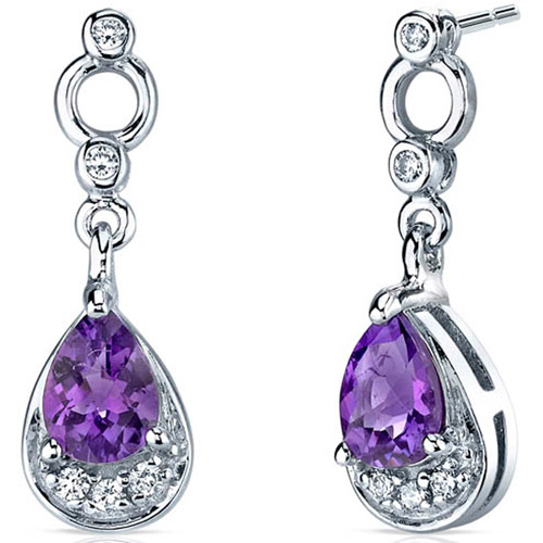 Oravo 1.00 Carat T.G.W. Amethyst Rhodium-Plated Sterling Silver Drop Earrings