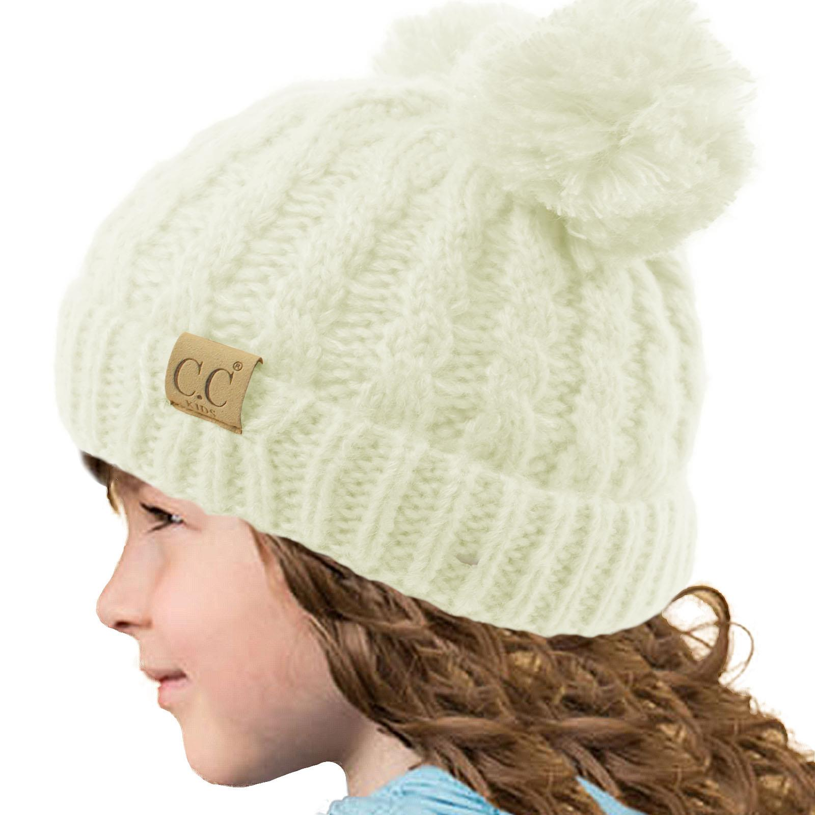 Kids Ages 2-7 Warm Chunky Thick Stretchy Knit Slouch Beanie Skull Hat