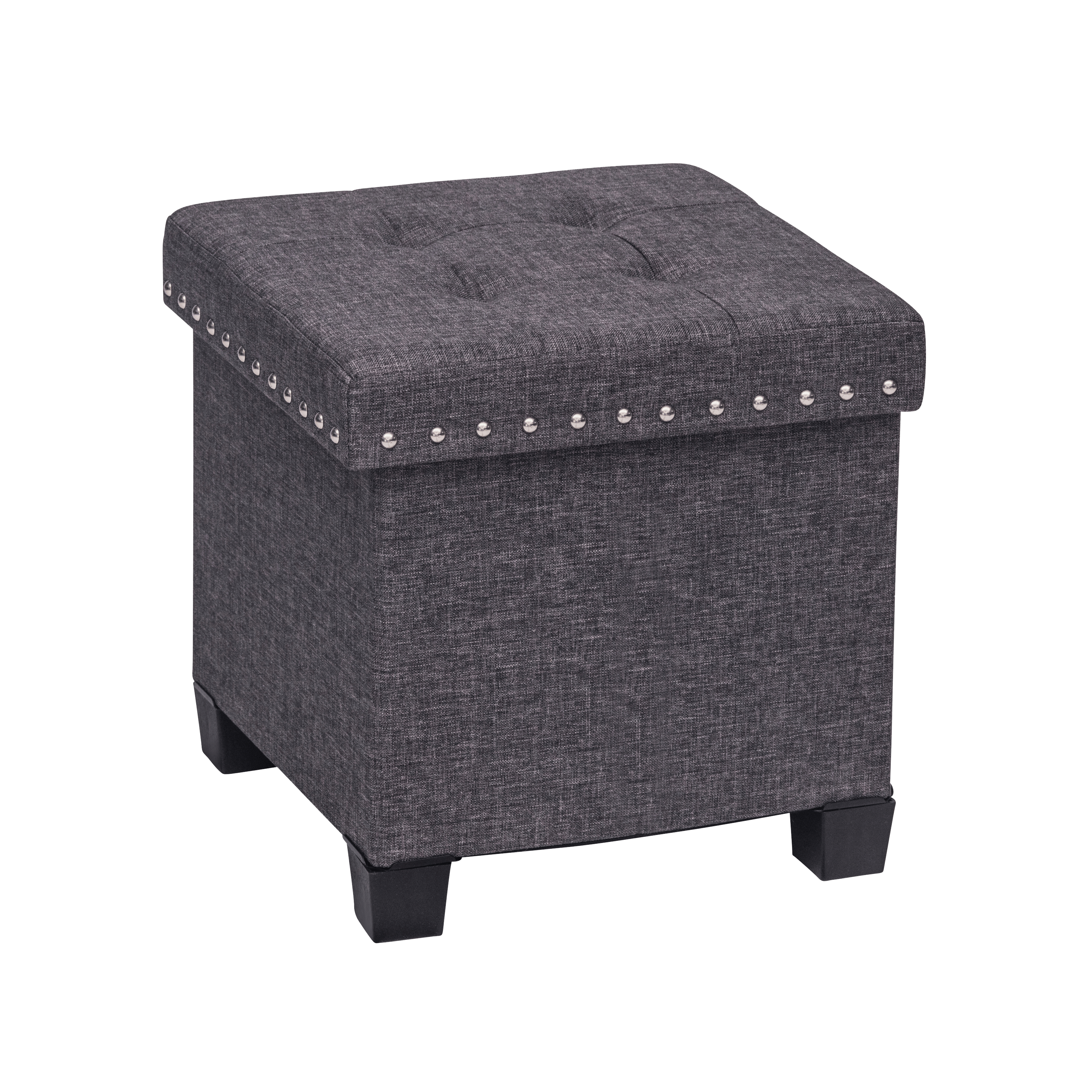 Payton Foldable Storage Ottoman Foot Rest and Seat with Feet, Cube Charcoal Gray Upholstered Fabric, Reclaimed Maple Wood Tray