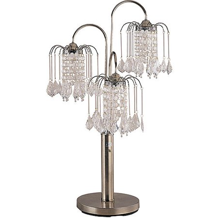 ORE International Table Lamp with Crystal-Like Shades, Antique Brass