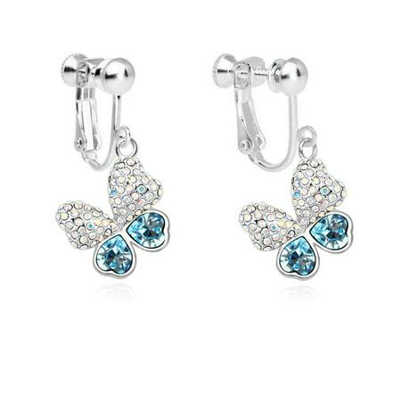(Coppoo Fashion Charm Jewelry Girl Butterfly Screw Back Clip on Earring Non-Pierced Swarovski Elements Crystal Deep Blue)