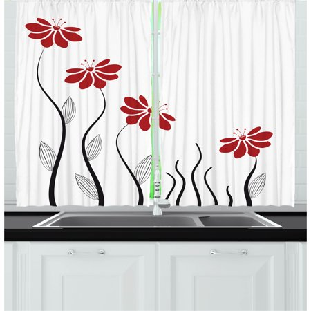 Flower Curtains 2 Panels Set, Floral Petals with Striped Leaves and Lines Modern Style Geometrical Design Print, Window Drapes for Living Room Bedroom, 55W X 39L Inches, Red and Black, by Ambesonne