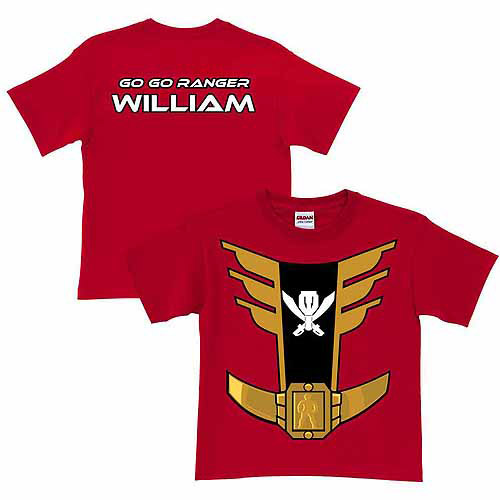 Personalized Power Rangers Red Ranger Boy's Red T-Shirt