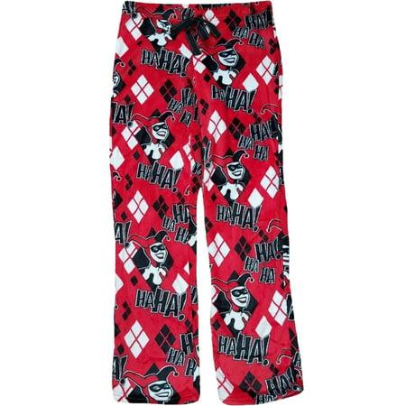 Womens DC Harley Quinn Joker Batman Fleece Sleep Pant Diamond Pajama Bottoms - Harley Pajamas