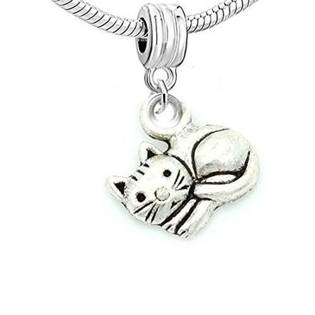 Curled up Cat Bead Compatible for Most European Snake Chain Bracelet](Up Bracelets)