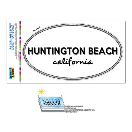 Huntington Beach, CA - California - Black and White - City State - Oval Laminated (Pizza D Oro Menu Huntington Beach Ca)