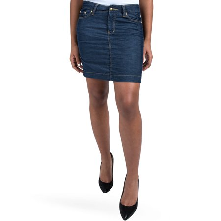 S&P Womens Contemporary Mini skirts Indigo Blue Stretch Corduroy Gold Stitch & Metal (Sky Blue Corduroy)