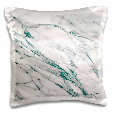 3dRose Luxury Grey Aqua Teal Gem Stone Marble Glitter Metallic Faux Print - Pillow Case, 16 by 16-inch