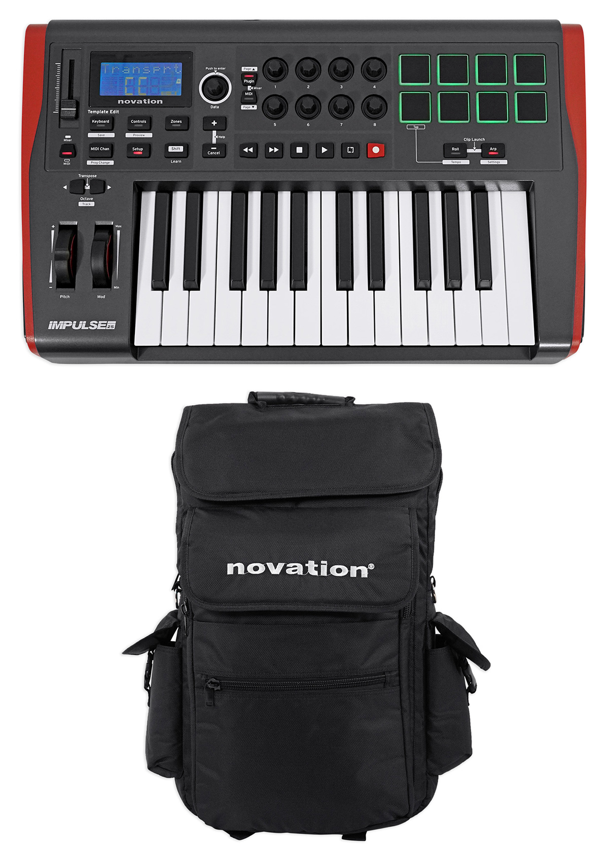 Novation IMPULSE 25 Ableton Live 25-Key MIDI USB Keyboard Controller + Carry Bag by NOVATION