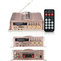 600W 12V 2 Channel Mini HIFI Stereo Power Amplifier Portable Audio Speaker Aluminum USB/SD/MMC/FM Radio for Car Motorcycle MP3 MP4 Computer+ Remote Control