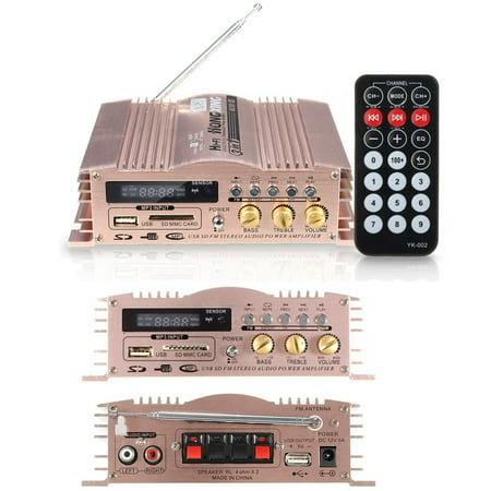 600W 12V 2 Channel Mini HIFI Stereo Power Amplifier Portable Audio Speaker Aluminum USB/SD/MMC/FM Radio for Car Motorcycle MP3 MP4 Computer+ Remote