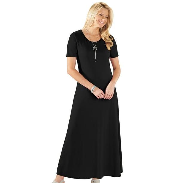 AmeriMark Women's Knit Maxi Dress - 100% Cotton Short Sleeve T-Shirt Dress