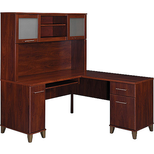 "Bush Somerset 60"" L-Shaped Desk with Hutch, Hansen Cherry"