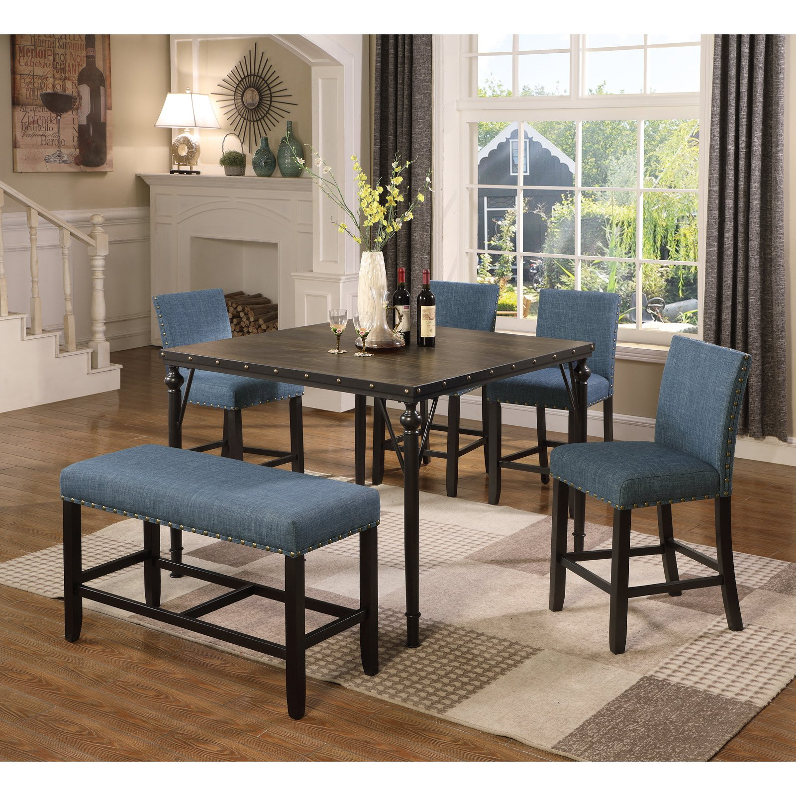 Ordinaire Roundhill Furniture Biony 6 Piece Square Counter Height Dining Table Set