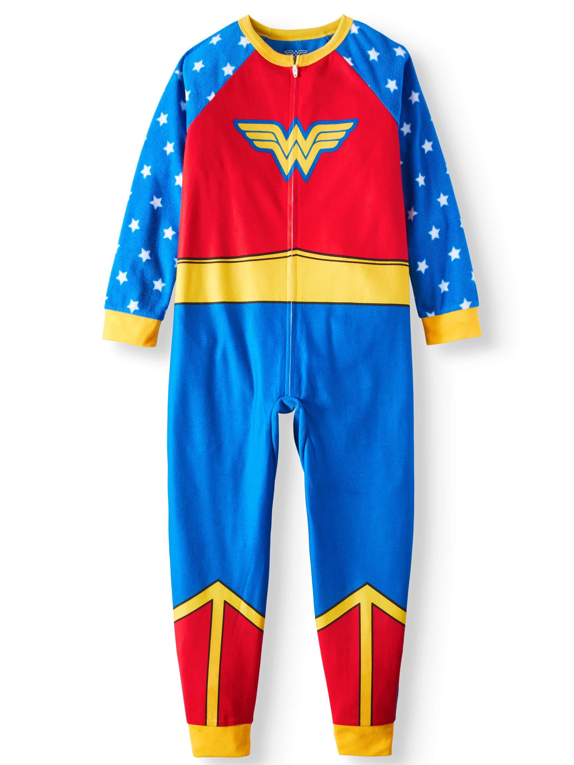 Wonder Woman Girls' Poly 1-Piece Footless Sleeper