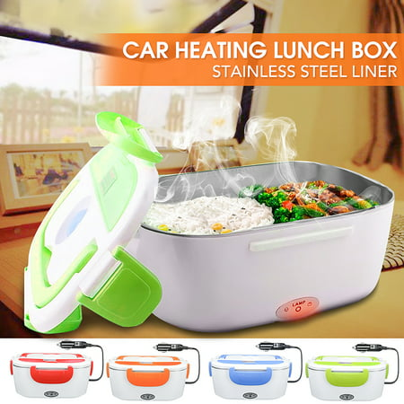 Stainless Steel Liner Electric Heated 12V Car Heating Lunch Box Bento Travel Food Warmer Safer Constant Temperature Evenly Heating