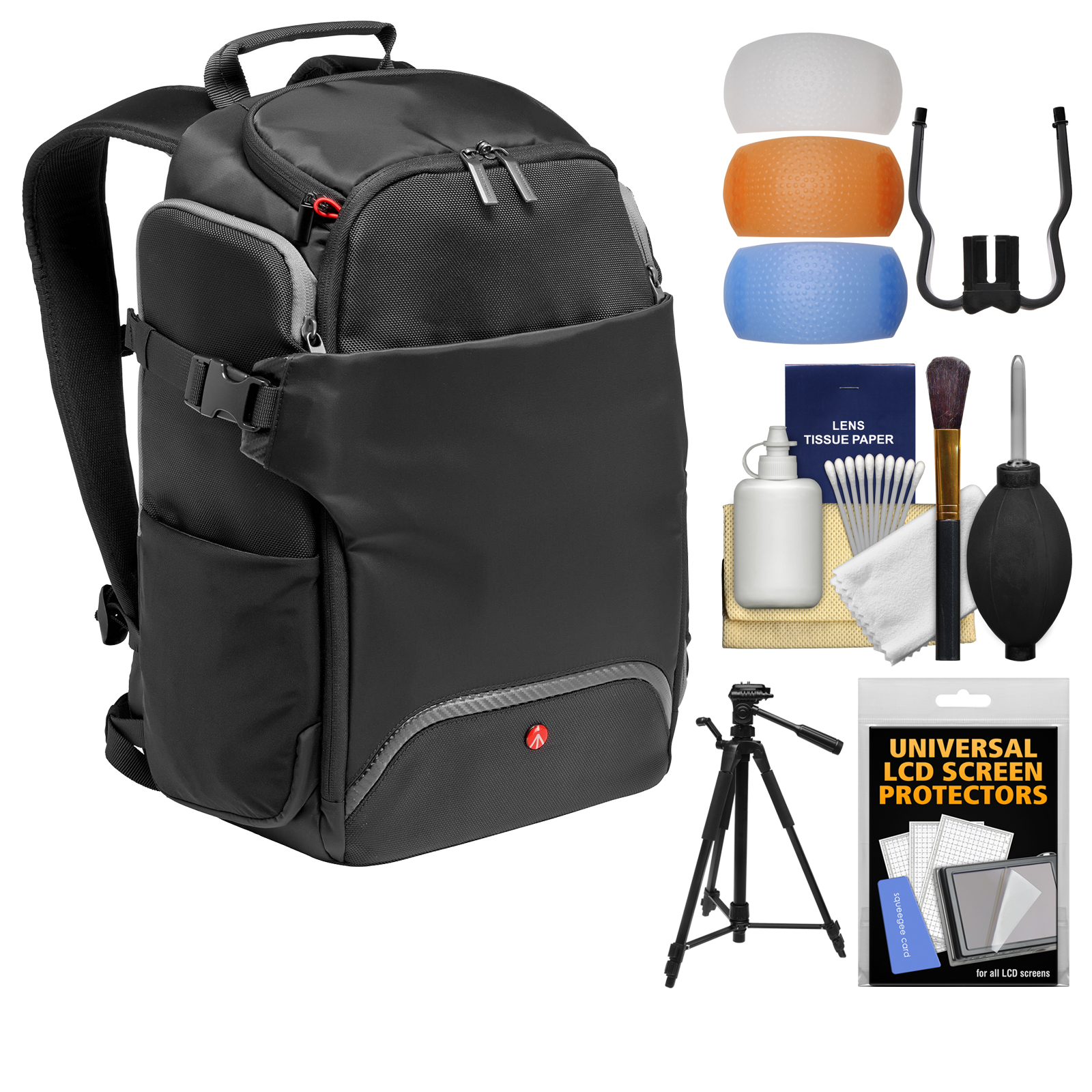 """Manfrotto Rear Access Advanced Digital SLR Camera Backpack with 58"""" Tripod + DSLR Diffusers & Cleaning Kit"""