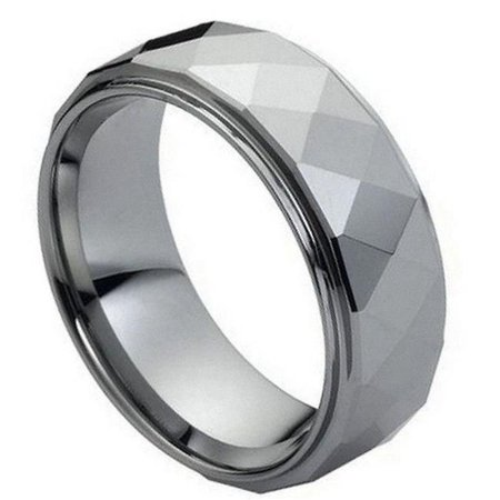TK Rings 096TR-8mmx8.0 8 mm Domed Faceted Ring Stepped Edge Tungsten Ring - Size 8