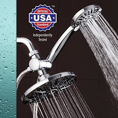 AquaDance 7 Premium High Pressure 3-way Rainfall Shower Combo Combines the Best of Both Worlds - Enjoy Luxurious Rain Showerhead and 6-setting Hand Held Shower Separately or