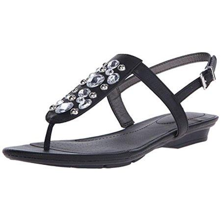 LifeStride Womens Envy Faux Leather Embellished Slingback Sandals