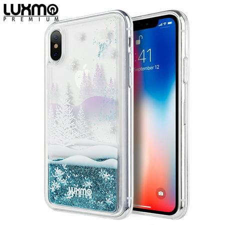 Water Winter Wonderland (For Apple iPhone XS Max Case, by Insten The Waterfall Liquid Sparkling Quicksand Winter Wonderland TPU Rubber Candy Skin Case Cover For Apple iPhone XS)