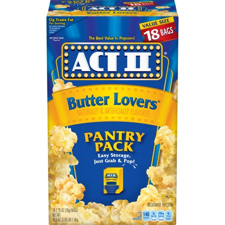 ACT II Butter Lovers Microwave Popcorn, 2.75 Oz, 18