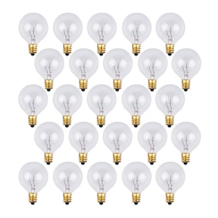 25 Pack - Clear G40 Globe Light Bulbs For Patio String Lights Fits E12 and C7 Base 5 Watt G40 Replacement Bulbs For Patio Lights E12 Base Clear Globe Decor