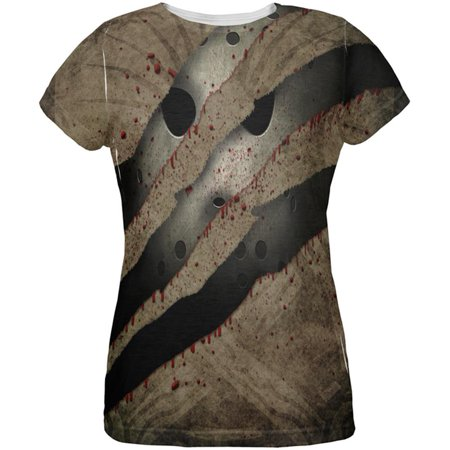 Halloween Horror Movie Mask Slasher Attack All Over Womens T Shirt - Horror Movie Masks Halloween